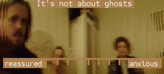 pixelated panoramic of three figures. Heading reads 'it's not about ghosts' and a scale goes from 'reassured' to 'anxious'.