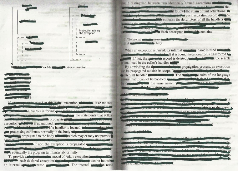 Final two pages from censorship process to create poem