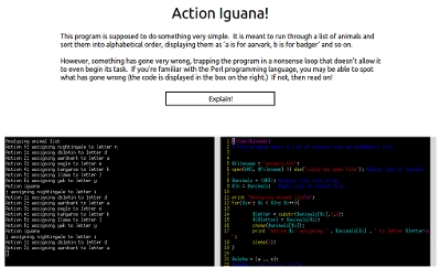 The buggy software Action Iguana