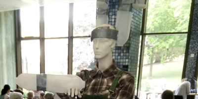 The wearable cow aggregates on a mannequin